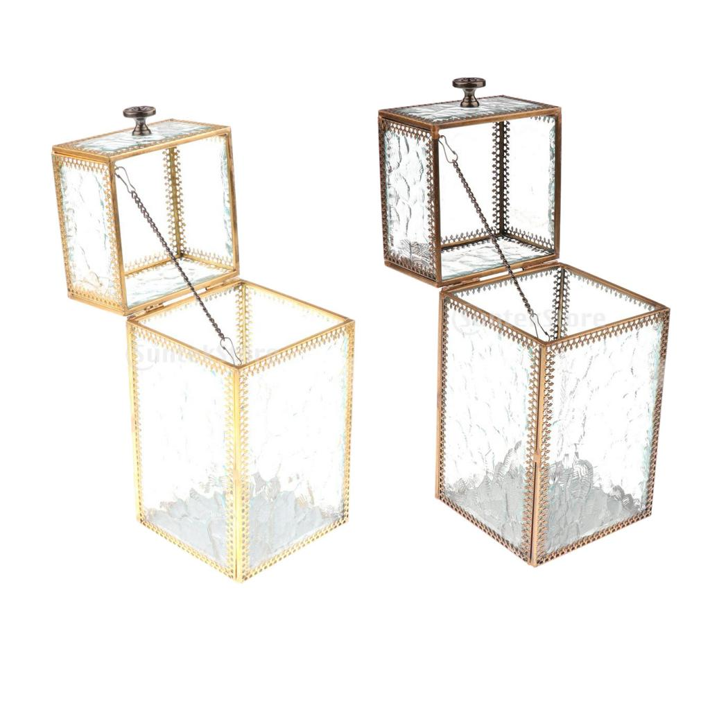 Vintage Metal Glass Jewelry Box Make Up Organizer Bracelet Earring Storage Box Cosmetic Storage Box Makeup Organizer Storage cute cat pen holders multifunctional storage wooden cosmetic storage box memo box penholder gift office organizer school supplie