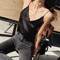 Crop Tops Faux Silk women Strappy tank top Sexy deep v neck summer Backless camisole short Casual party Vest tops shirt