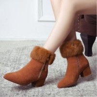 SHOFOO SHOES The New Fashion Free Shipping Cow Suede And Fur Fabrics 5 Cm High Heel