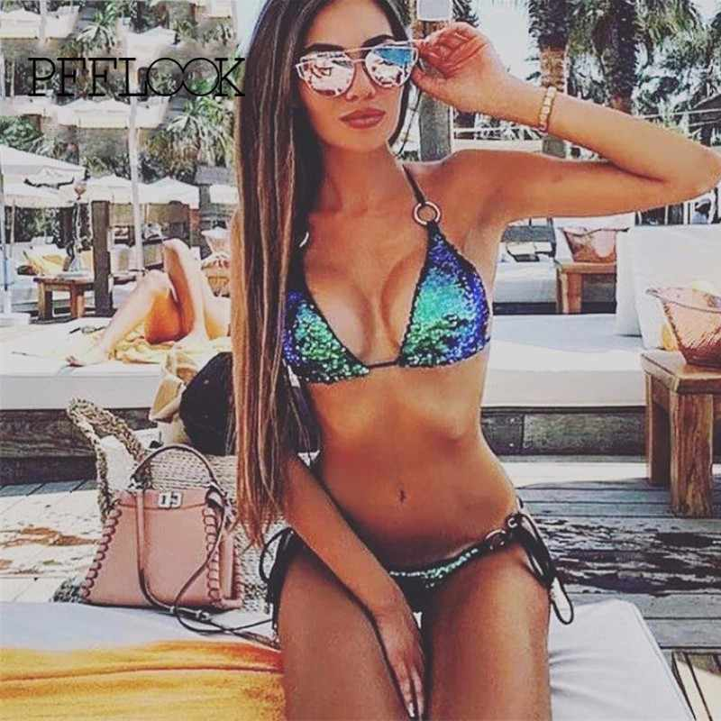PFFLOOK Sequined Sexy Two Piece Set Women Halter Solid Backless 2 Piece Set 2019 Fashion Summer Party Two Piece Outfits