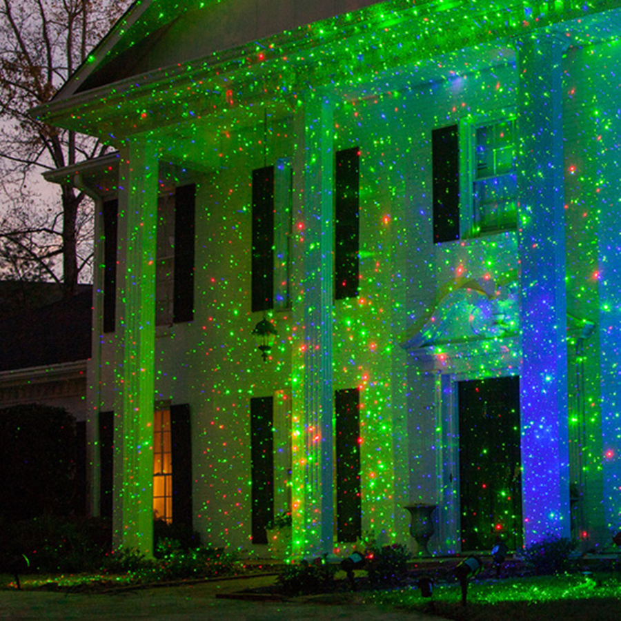 Thrisdar Outdoor RG Sky Star Christmas Laser Projector Lamp Outdoor Garden Starry LED Spotlight Green&Red LED Stage Light