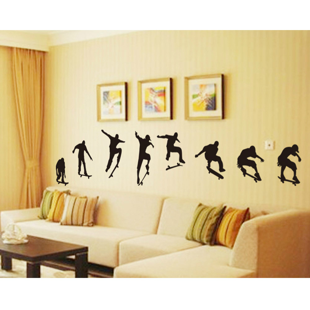 M003 Skateboard Boys Sports Cool Life Simple Black DIY Wall Stickers ...