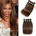 Straight 4 Bundles Brazilian Virgin Hair Straight Light Brown Mink Brazilian Hair Weave Bundles Brazilian Straight Human Hair