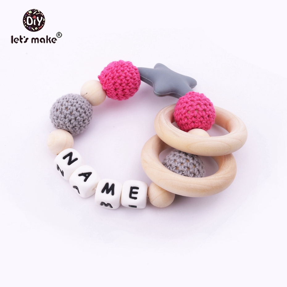 Baby Teether Personal Name Teether Crochet Beaded DIY Star Silicone Baby Organic Nursing Wooden Ring Baby Rattle Teether Toys
