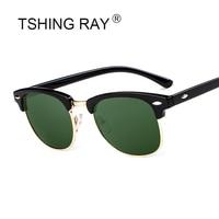 TSHING RAY Men Women Classic Half Frame Polarized Sunglasses Brand Designer G15 Coating Mirror Sun Glasses