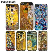 For Huawei P8 P9 P10 P20 P30 Pro Lite P Smart Plus Y6 Y9 2019 Black Soft Silicone Phone Case Kiss by Gustav Klimt Style