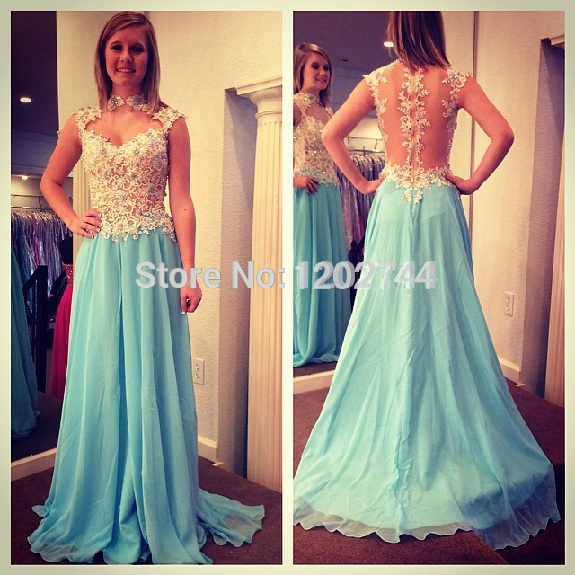 Dropped Waist See Through Mint Green Prom Dresses With Lace ...