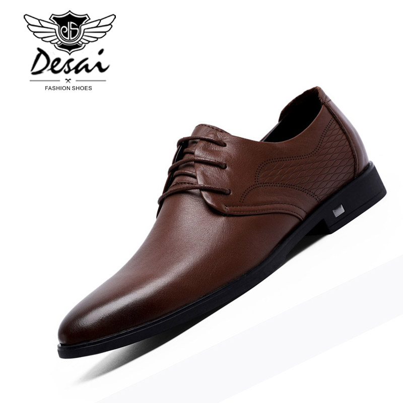 DESAI Brand Men's Genuine Leather Shoes British Lace-up Casual Breathable Shoes Men Business Dress Shoes Fashion Formal Flats