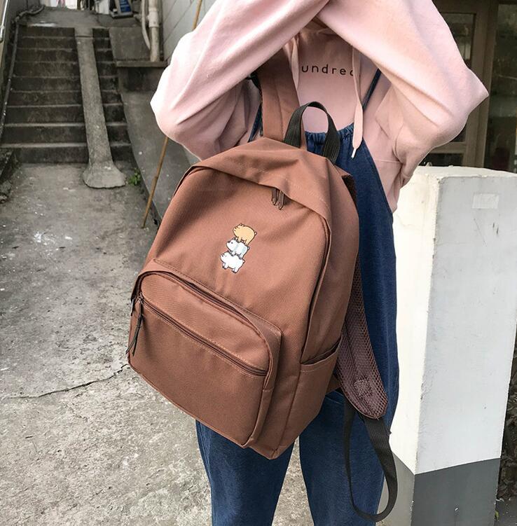 Free Shipping Helan H1-h3 Simple Backpack Backpack Female Hoop Canvas Schoolbag #3