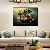 Retro Oil Painting Canvas HD Printed For Vintage Home Decoration Colorful Flowers Bonsai In The Dusk