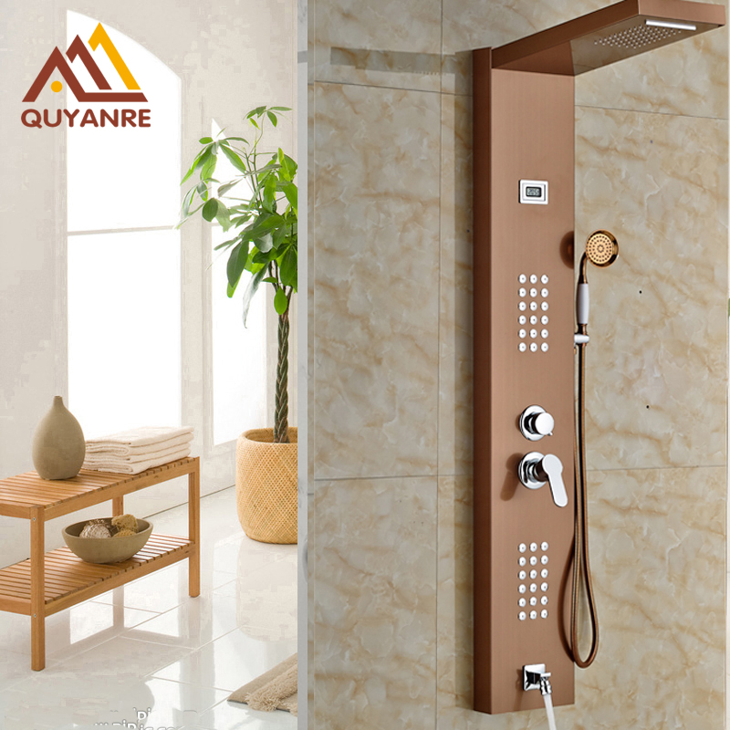 Rose Gold Shower Panels Wall Mounted Ceramic Handshower with Jets ...