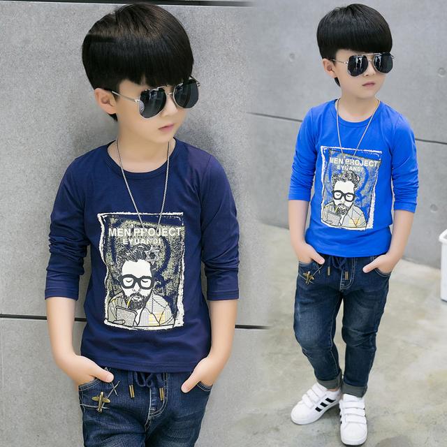 Muchachos niño de manga larga Camiseta 2016 de los niños ropa de primavera y otoño nueva llegada 4-14 años los niños algodón ocasional tops de marca