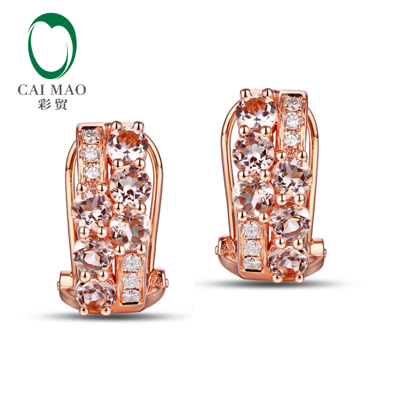 1.52ctw Morganite Diamond 14K Rose Gold Engagement Earrings1.52ctw Morganite Diamond 14K Rose Gold Engagement Earrings
