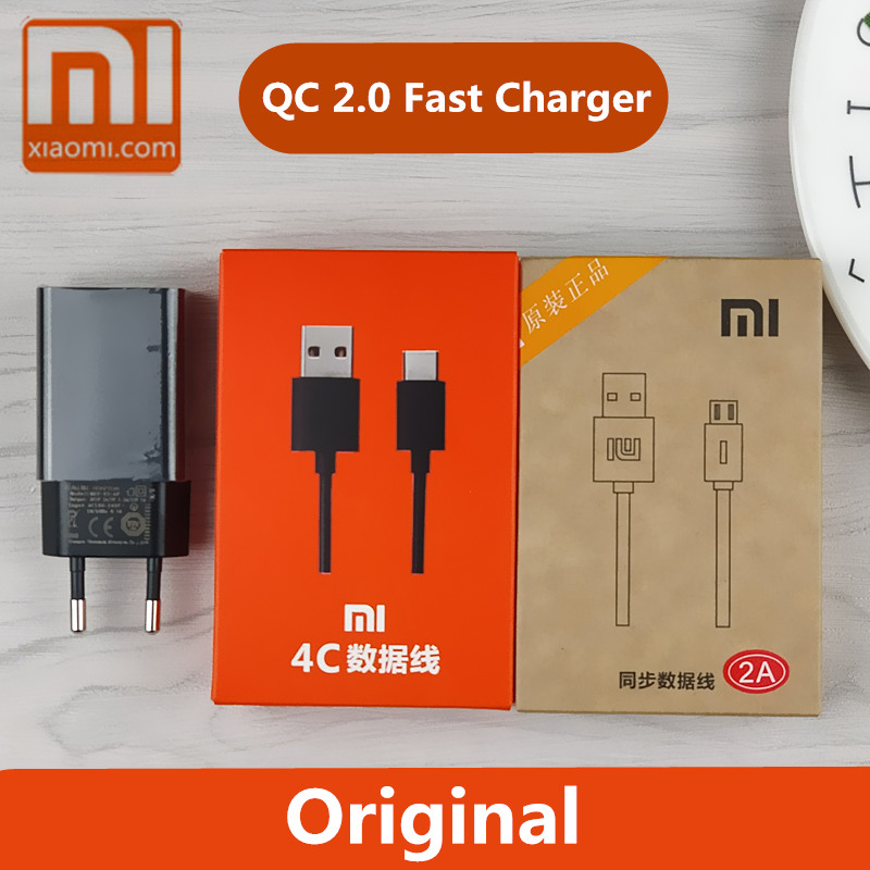 Original Xiaomi Redmi 5 Charger Note 4x a1 5s 5x 5a Max 2 mi5 mi5s 4c EU Usb Travel Adapter QC 2.0 Quick Fast Charge phone cable