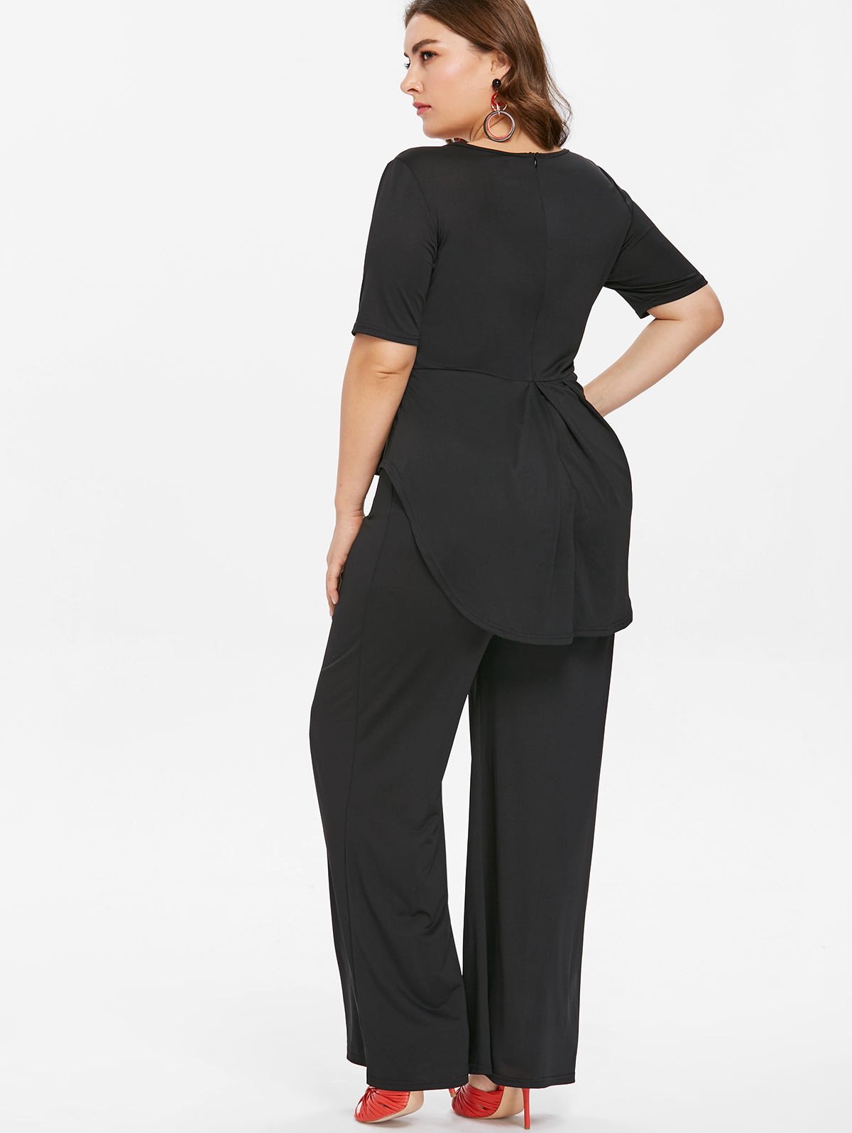 6e6b29c7769 Wipalo Plus Size 5XL V Neck Wide Leg Pants Elegant Jumpsuit Women Black  Short Sleeve Overlay Straight Peplum Jumpsuit Overalls-in Jumpsuits from  Women s ...