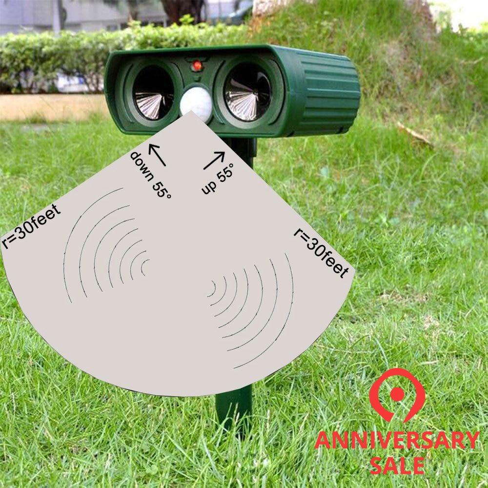 Efficace en plein air solaire moustique souris chien sanglier chat loup serpent aigle lecteur alarme capteur infrarouge lecteur à ultrasons LED Flash Stop