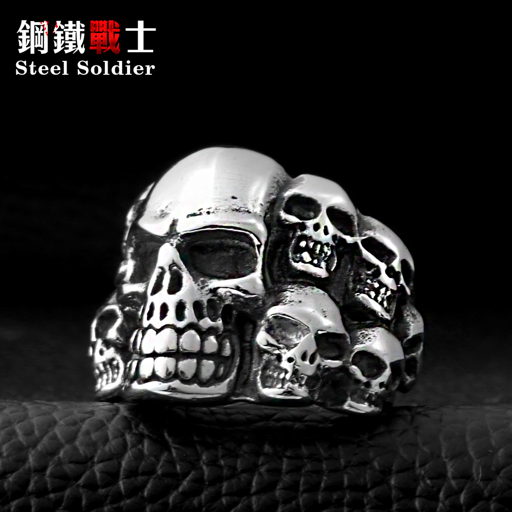 Stalen soldaat Punk Biker Heren Titanium Rvs Ring Multi Rock lots Skull Ring voor heren