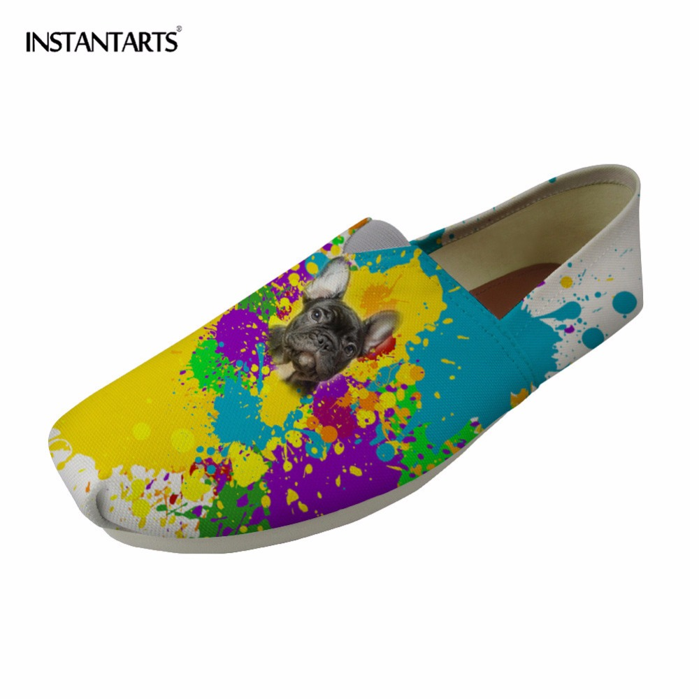 INSTANTARTS Women Flats Summer Slip-on Loafers Casual Shoes Colorful Animal Design Student Tenis Feminino Pug Dog Slackers Shoes