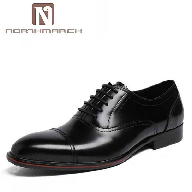 NORTHMARCH Leather Genuine Italian Designer Gentleman Dress Shoes Sapato Masculino Social Classic Formal Oxford Men Shoes