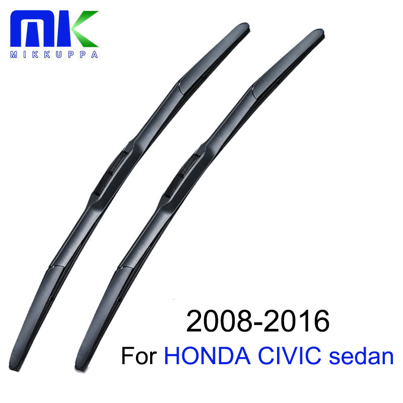 Mikkuppa Wiper Blades For Honda Civic sedan 2008-2016 Pair 26+24 Windshield Windscreen Wiper Auto Car Accessories wiper blades for mazda 3 24