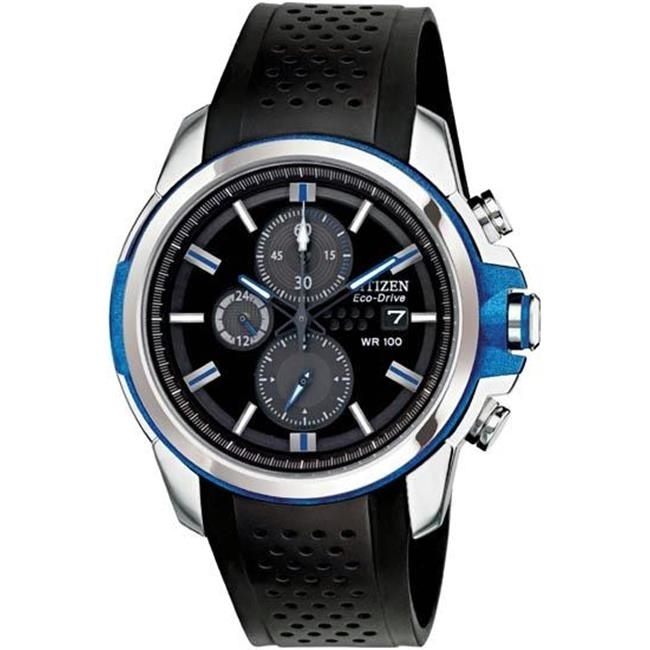 Citizen CA0421-04E Mens Drive Chronograph Stainless Steel Case Rubber Bracelet Black Dial Date Display Watch h098902 04e