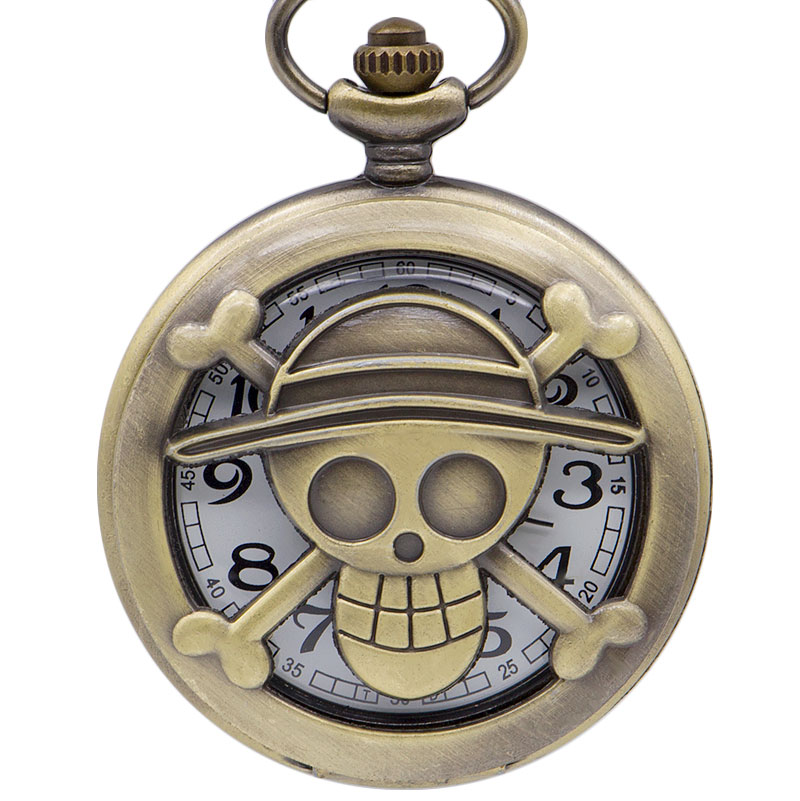 Fashion ONE PIECE Carving Logo Design Pocket Watches For Men Women Unisex Vintage Fob Watches With Pendant Necklace Chain