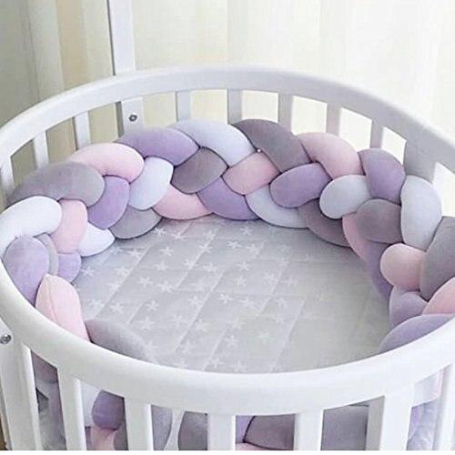 Длина 300 см, детская кроватка, бампер, завязанная узлом, заплетенная плюшевая детская колыбель, Декор, подарок для новорожденных, подушка, детская кровать, спальный бампер - Цвет: pur pin white gray 4