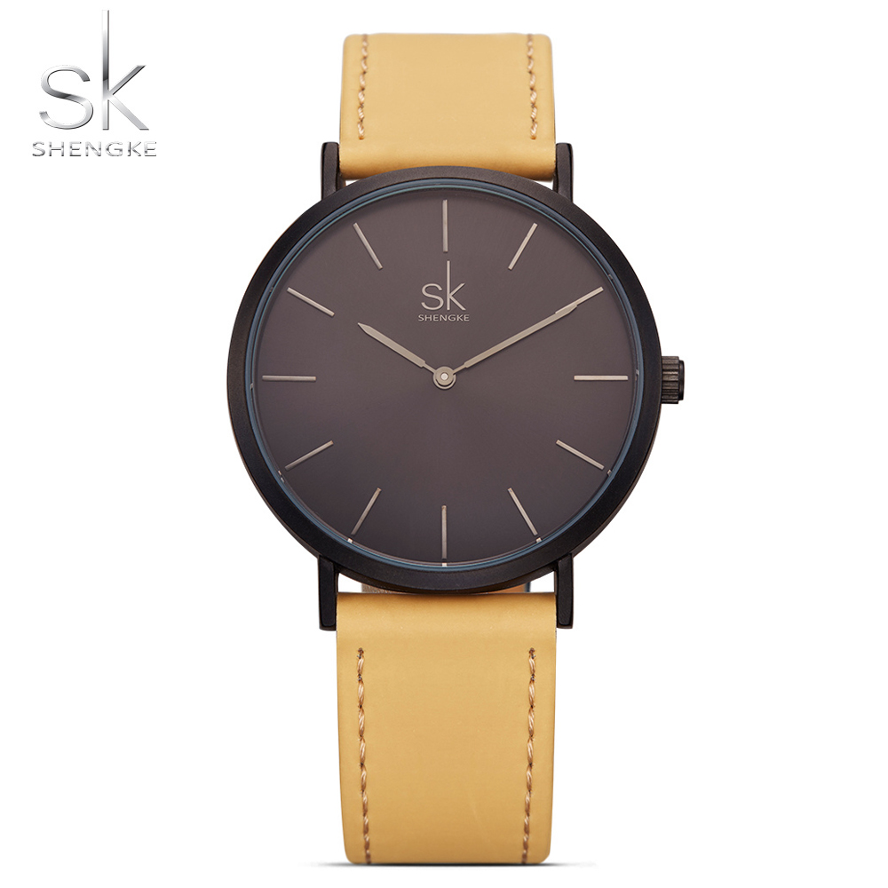 2018 Shengke Brand New Fashion Watches Top Famous Sky Blue Quartz Watch Women Watches Reloj Mujer Hot Clock Leather Watches SK