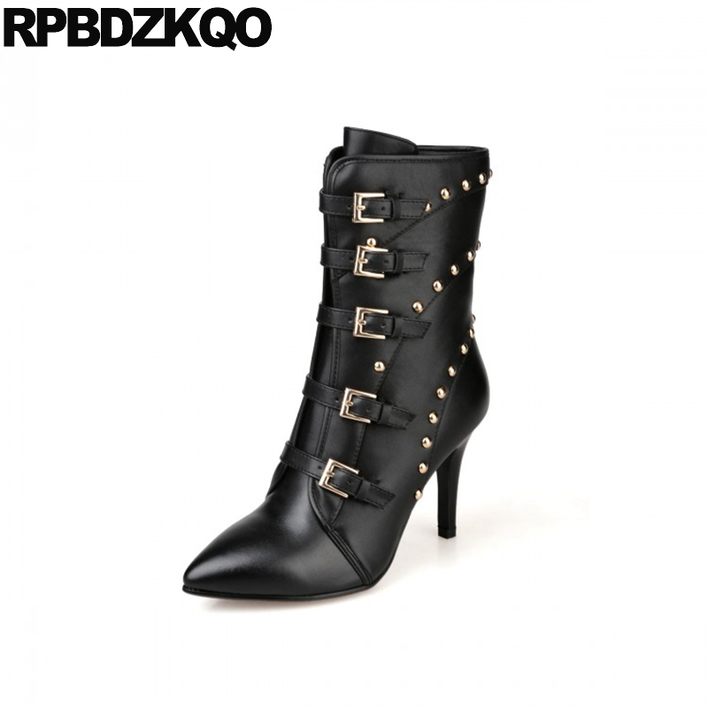 Stud Biker Brand Sexy Rivet Women Stiletto Ankle High Heel Pointed Toe Metal Punk Rock Boots Fringe Motorcycle Black Belts Shoes women white brogue stud shoes british style metal flats rivet fashion oxfords black designer spring autumn punk rock belts zip