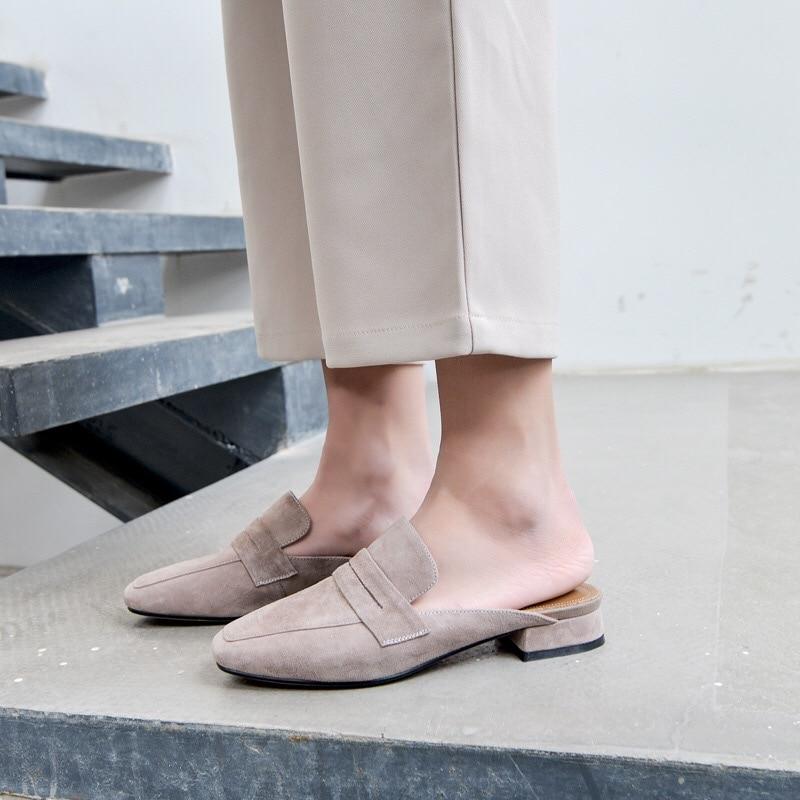 2018 фирменные дизайнерские женские сабо дамы Натуральная кожа и обувь из флока модные туфли на плоской подошве Лоферы Sharp глава шлепанцы