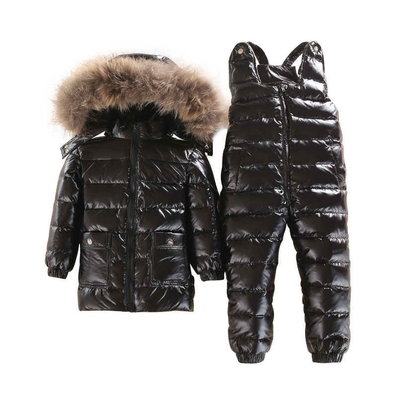 2018 winter children down jacket with pants boy down coat natural fur girl down jackets kids warm snow wear 100cm-140cm 3T-11T 2018 winter baby boy down jacket large fur girl down jacket natural fur kids snow wear children down outerwear 90