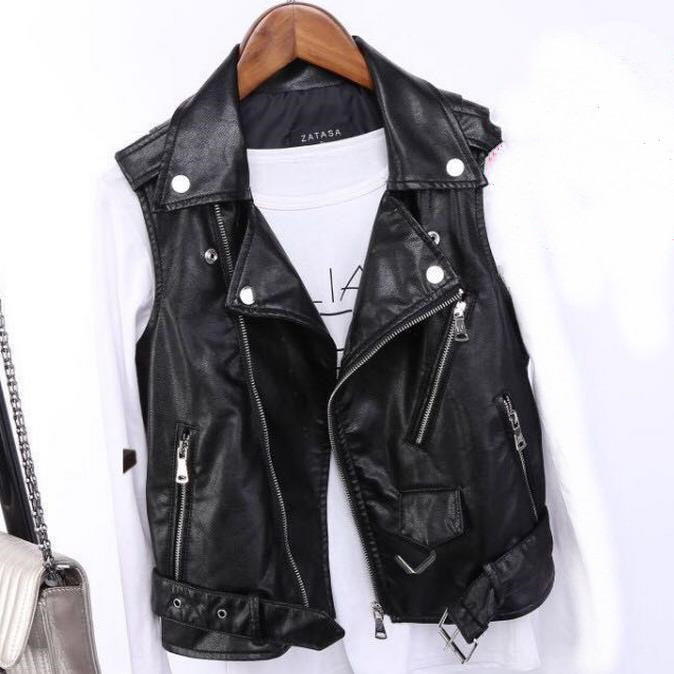 New Pu Leather Waistcoat Women Motorcycle Vest Coat Sleeveless Vests Large Size 4xl