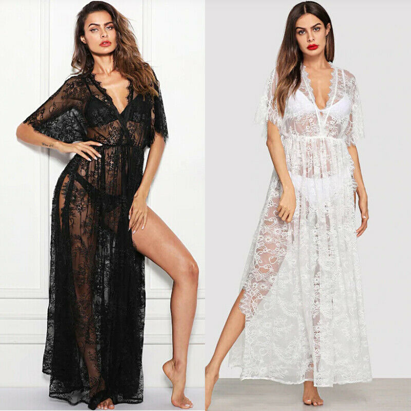 Womens Lace Bikini Cover Up Sexy Ladise Flowers See-through Beach Long Dress V-Neck Thigh-High Slit Women Cover-ups Swimsuits