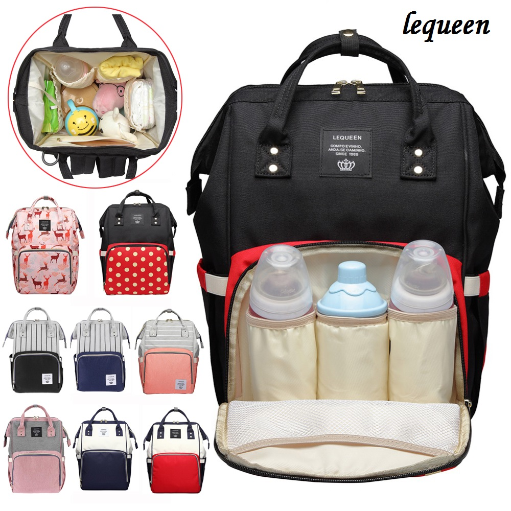 LEQUEEN Fashion Mummy Maternity Nappy Bag Travel Backpack Stripe Mummy Maternity Diaper Bag Large Capacity Baby Care Nursing Bag opel ветровики дверей mokka 2012–н в шелкография серебро
