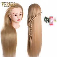 VERVES head dolls for hairdressers 80cm hair synthetic mannequin head hairstyles Female Hairdressing Styling Training Head