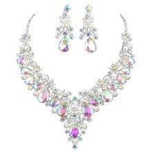 Изысканное блестящее женское ожерелье с искусственными кристаллами