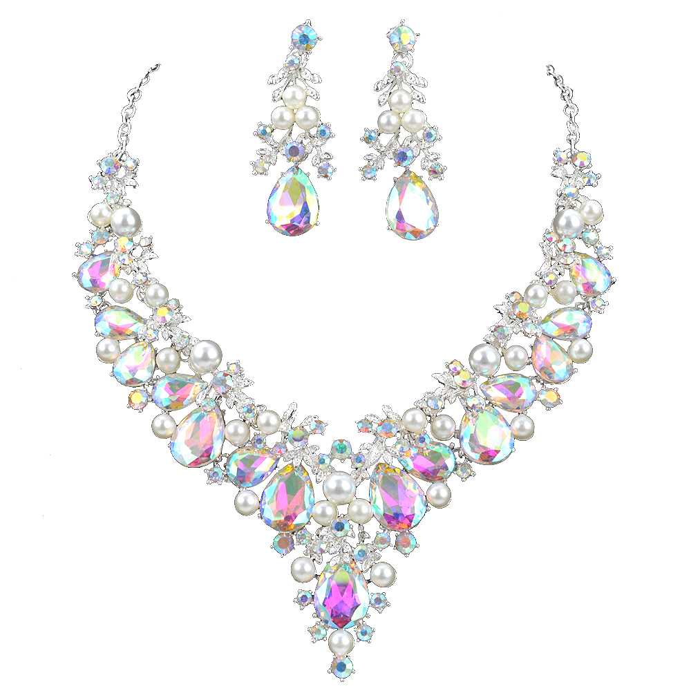 Delicate Shining AB crystal and pearl Jewelry sets For women wedding Dress necklace earrings Bridal party jewellery accessories delicate maple leaf shape rhinestone and faux pearl necklace and earrings for women