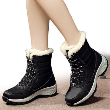 Buty damskie buty zimowe damskie buty śniegowe damskie Plus rozmiar gorące buty na platformie zimowe damskie ciepłe Botas Mujer 2018 białe botki tanie i dobre opinie Dla dorosłych Krótki pluszowe RUBBER Połowy łydki Skóra Split 0-3 cm Zima Plac heel Lace-up Mieszane kolory C NEW S