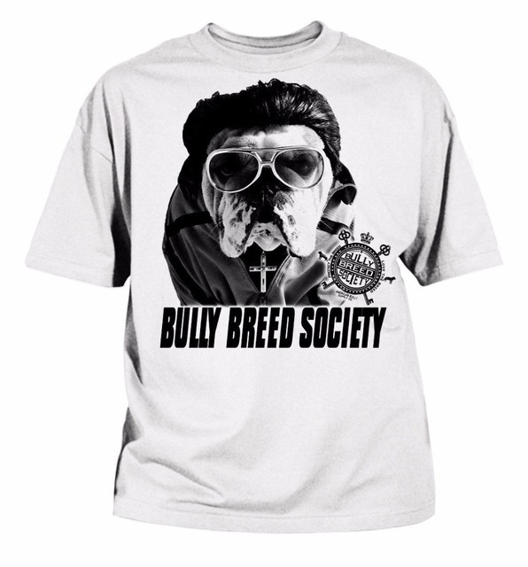 100% Algodão de Manga Curta Verão Camisetas Inglês Bulldog Bully Breed  Sociedade branca T- 88e39c0dde14a