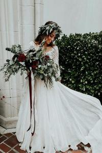 Image 3 - Vestido de noiva 2 pièces plage robes de mariée dentelle une ligne mousseline de soie demi manches robe de mariée bohème Sexy col en V robe de mariée