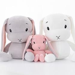 Kawaii orelhas longas coelho travesseiro para cama do bebê boneca calma crianças brinquedos macio recém-nascido menino menina sono almofada infantil apaziguar almofadas do bebê