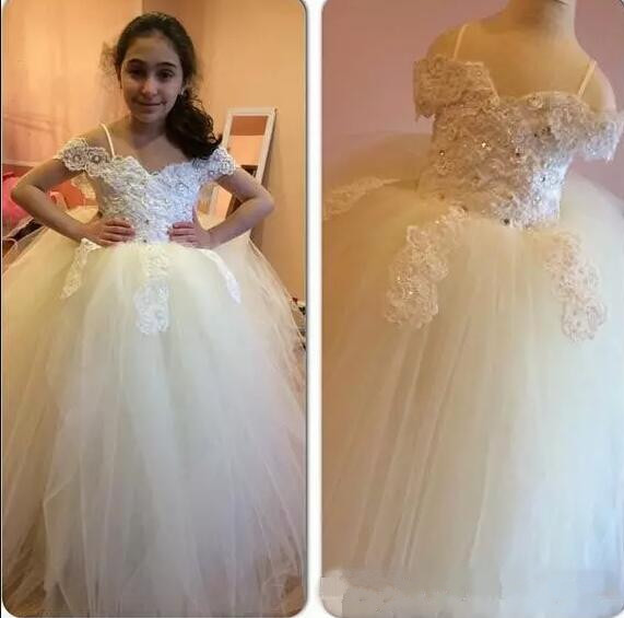 Luxury White/Ivory Ball Gown Glitz Flower Girls Dresses Pearls Appliques Beads Tulle Lace Kids Pageant Gown