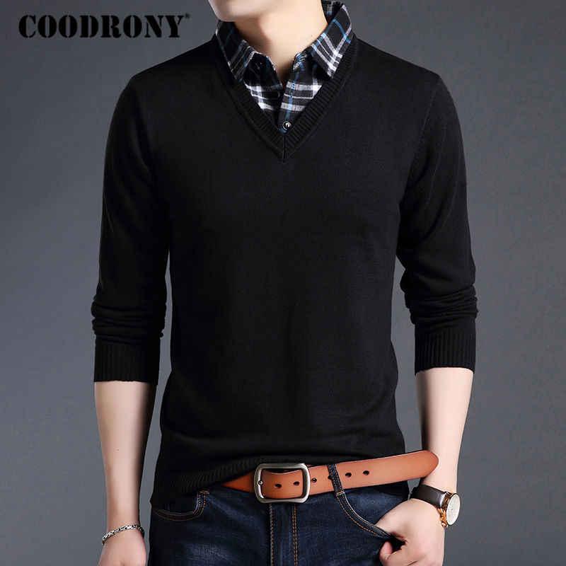 Coodrony 스웨터 남자 가을 겨울 두꺼운 따뜻한 양모 스웨터 캐주얼 twinset 투피스 드레스 풀오버 남자 면화 저지 hombre 120