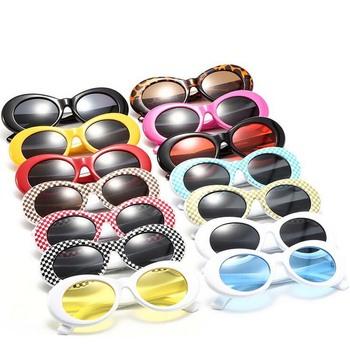 Damskie okulary ochronne okulary męskie modne okulary przeciwsłoneczne damskie męskie owalne okulary czarne białe czerwone okulary UV400 tanie i dobre opinie BINSYSU Dla dorosłych Kobiety Octan 9750sunglasses Poliwęglan 69mm 51mm