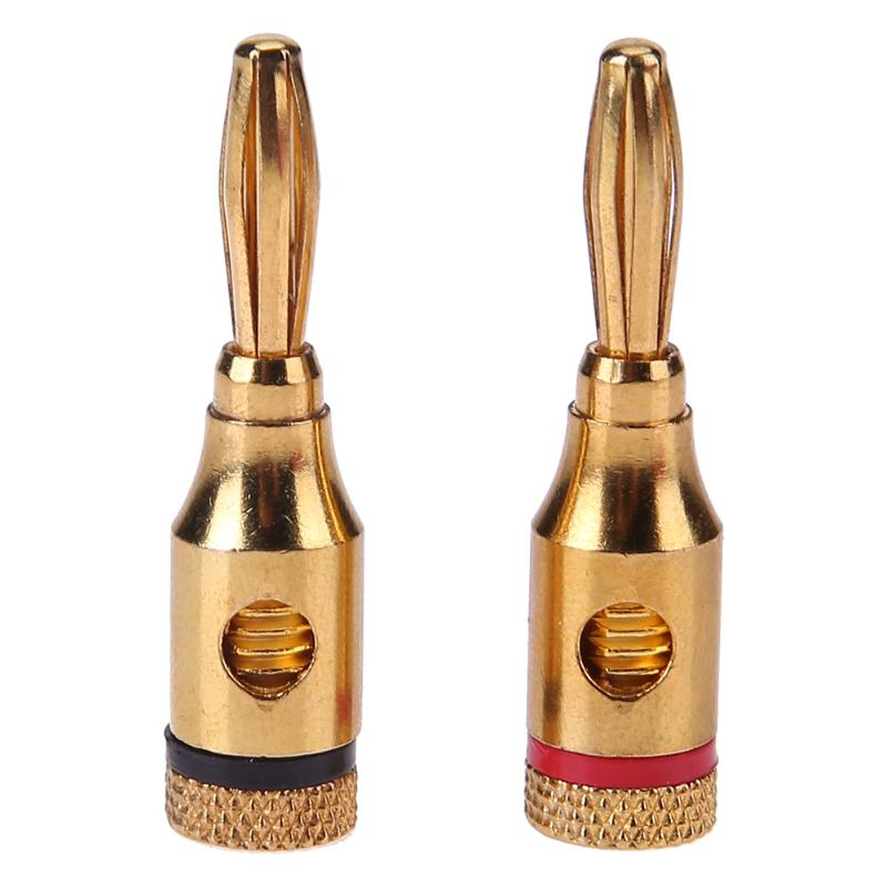New 2pcs 4mm Plug Connector Gold plated Musical Speaker Cable Wire Screw Banana Plug Connectors hot 4pcs copper gold plated tuning fork banana y spade plug adapter av audio terminals connectors for speaker cable power