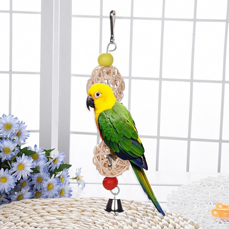 Hot Rattan Ball font b Pet b font BirdToys Rattan Ball Twist String Chewing Toy With