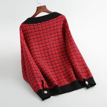 Spring Autumn vintage Plaid Soft Wool Knit Jackets Coat Women V-Neck Oversize Korean Sweater Cardigan Loose Outwear Tops Female 4