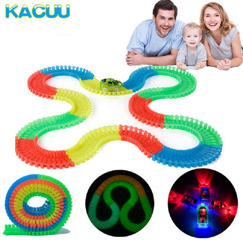 Magical Track Glow In The Dark DIY Universal Accessories Ramp Turn Road Bridge Crossroads For 7.5cm Race Track Gift Toy For Kids
