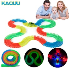 купить Miraculous Glowing Race Track Bend Flex Flash in the Dark 162/165/220/240pcs glow Tracks with LED car Christmas gift for kids дешево