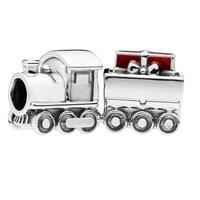 PANDULASO Original 925 Sterling Silver Christmas Train Charm Bead Fits Pandora Bracelet DIY Jewelry Women 2018 Winter Wholesale